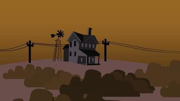 cartoon animatie achtergrond met huis op boerderij, abstracte achtergrond video