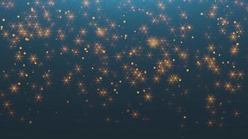animação voar bokeh abstrato ouro, brilho com estrelas no céu noturno. feliz ano novo e feliz natal fundo brilhante video