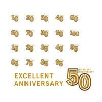 Ilustración de diseño de plantilla de vector de aniversario excelente de 100 años