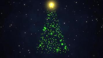 geanimeerde close-up kerstboom op donkerblauwe achtergrond
