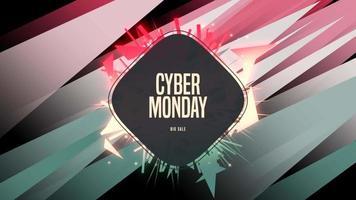 Animation Intro Text Cyber Montag auf Mode und Club Hintergrund mit leuchtenden roten und grünen geometrischen Form video