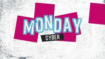 animação de introdução de texto cibernética segunda-feira em hipster branco e fundo grunge com ruído video