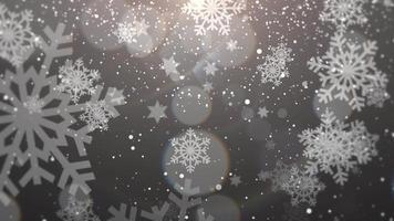 floco de neve branco caindo. feliz ano novo e feliz natal fundo brilhante