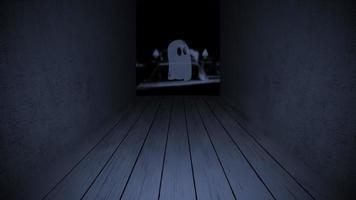 animação de fundo de halloween com o fantasma