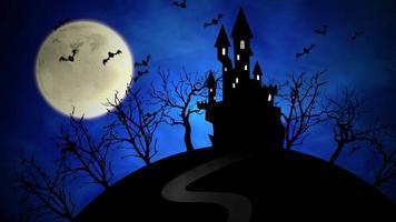 halloween bakgrundsanimering med slottet och månen