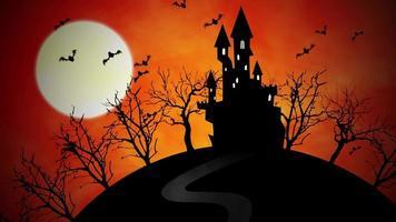 animación de fondo de halloween con el castillo y la luna