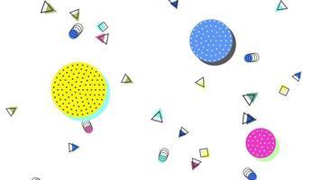 beweging abstracte geometrische vormen stippen en driehoeken, kleurrijke memphis achtergrond