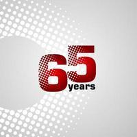 Ilustración de diseño de plantilla de vector de aniversario de 65 años