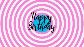 animatie intro tekst gelukkige verjaardag op roze mode en minimalisme achtergrond met geometrische cirkels
