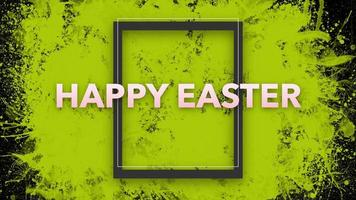 testo di animazione buona Pasqua su hipster nero e sfondo grunge con macchie e pennelli gialli video