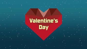 Texte de la Saint-Valentin en gros plan animé et coeur rouge géométrique de mouvement dans la galaxie sur fond de Saint Valentin video