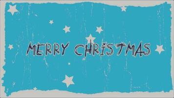 animatie intro tekst vrolijk kerstfeest op blauwe hipster en grunge achtergrond met sterren