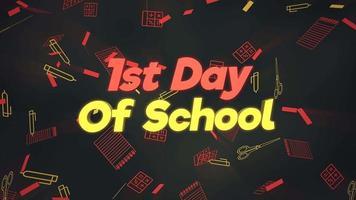 texto de close up animado 1º dia de aula e movimento de close up de elementos de escola, plano de fundo de educação