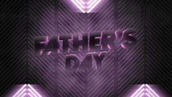 texte d'animation fête des pères et lignes de néon violet de mouvement, fond abstrait vacances