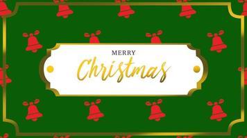 animierte Nahaufnahme frohe Weihnachtstext und Glocken mit Goldrahmen auf Feiertagshintergrund