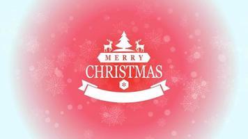 animierte Nahaufnahme frohe Weihnachtstext und Schneeflocke mit Bäumen und Hirsch auf schneerotem Hintergrund