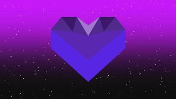 animierte Nahaufnahme romantisches sechseckiges blaues Herz und Glitzer in der Galaxie auf Valentinstaghintergrund