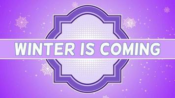 closeup animado inverno está chegando texto e flocos de neve brancos voando sobre fundo gradiente roxo de neve