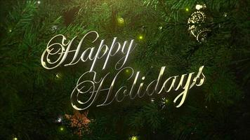 geanimeerde tekst van de close-up gelukkige vakantie, kleurrijke ballen en groene boomtakken