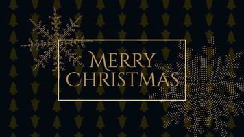 animierte Nahaufnahme Frohe Weihnachten Text und Gold Schneeflocken mit im Urlaub schwarzen Hintergrund