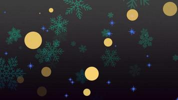 Animación volar copos de nieve verdes y brillos sobre fondo negro de invierno de vacaciones