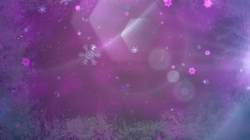 abstrakt lila bokeh och snöflinga faller. gott nytt år och god jul