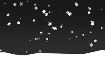 animação flocos de neve brancos na natureza, fundo de inverno com neve à noite
