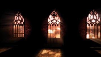fundo de terror místico com corredor escuro do castelo