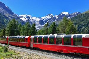 Swiss mountain train crosses the Alps