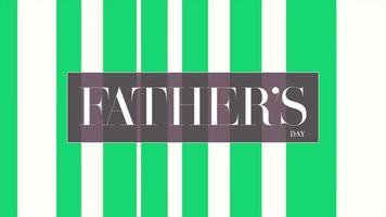 animatietekst vaderdag op witte mode en minimalisme achtergrond met geometrische groene lijnen