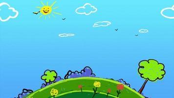 Cartoon Earth globe spinning video