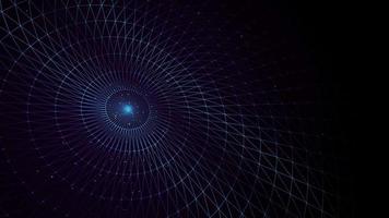 espaço abstrato girando disco de polígonos baixos loop de fundo animação 4k de um fundo de espaço abstrato com disco circular de polígonos baixos e partículas girando e looping contínuo