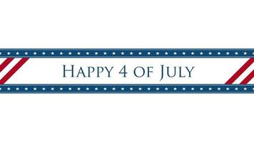 geanimeerde close-up tekst 4 juli op vakantie achtergrond, onafhankelijkheidsdag van de vs video