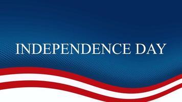 geanimeerde de onafhankelijkheidsdag van de close-uptekst op vakantieachtergrond, de dag van de natie van de VS. video