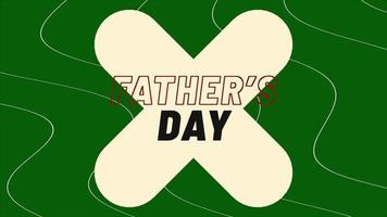 animatietekst vaderdag op groene mode en minimalisme achtergrond met geometrische kruis