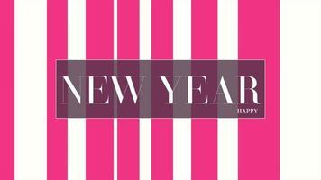 texto de introducción de animación feliz año nuevo sobre fondo blanco de moda y minimalismo con líneas rojas