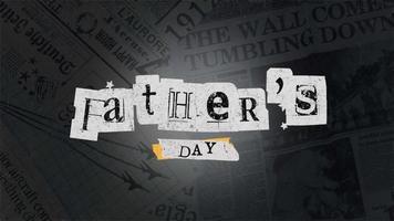 animación texto día del padre sobre fondo hipster y grunge con periódico