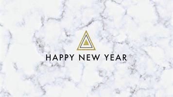 animatie intro tekst gelukkig nieuwjaar op witte mode en minimalisme achtergrond met marmeren patroon