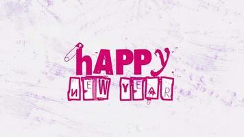 animatie intro tekst gelukkig nieuwjaar op hipster en grunge achtergrond