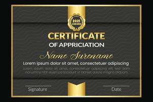 plantilla de diseño de certificado de premio vector
