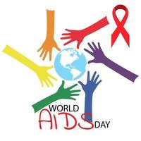 Aids Awareness Red Ribbon. World Aids Day concept. Illustration vector