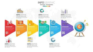 Infograph 6 steps circle element with number and chart diagram, business graph design. vector