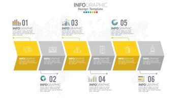 infografía elemento de color amarillo de 6 pasos con diagrama de gráfico circular, diseño de gráfico empresarial. vector