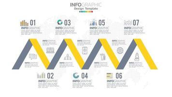Infograph 7 step yellow color element with circle graphic chart diagram, business graph design. vector