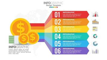 Money infographic with 6 steps element chart diagram, business graph design. vector