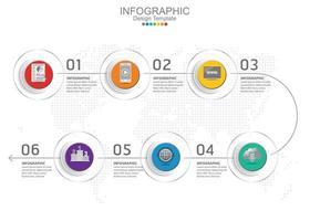 plantilla de infografía vectorial con seis opciones e iconos. vector