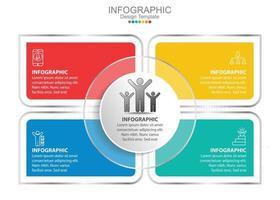 plantilla de infografía vectorial con cuatro opciones e iconos. vector