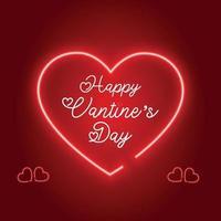 Happy valentines day realistic neon light design vector