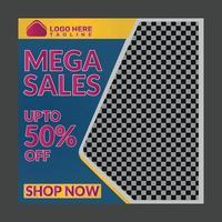 Mega sales flyer template vector