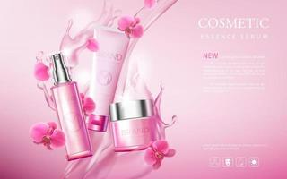 Realistic cosmetic advertisement editable banner